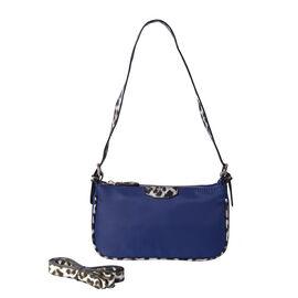 Designer Inspired - Navy Bag with Leopard Pattern Adjustable Shoulder Strap