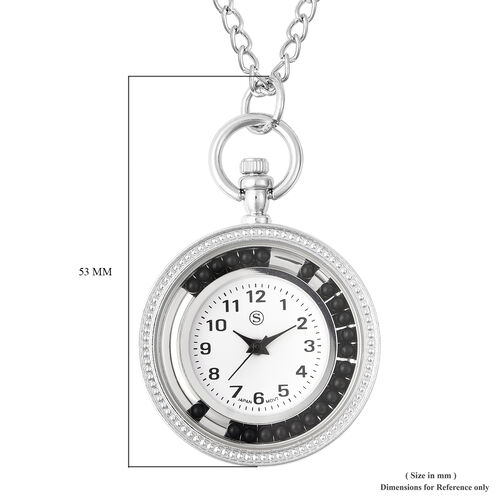 STRADA Japanese Movement Pocket Watch with Chain (Size 30) and Moving Black Agate Beads Around the Dial in Silver Tone