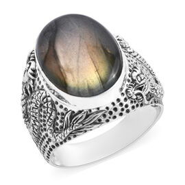 Limited Edition- Designer Inspired Labradorite (Ovl 18x13 mm) Dragon Ring in Sterling Silver 12.13 C