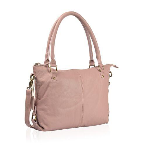 Genuine Leather RFID Blocker Mauve Colour Handbag with External Zipper Pocket and Adjustable and Removable Shoulder Strap (Size 36X32X8 Cm)