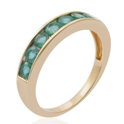 9K Yellow Gold AA Kagem Zambian Emerald (Rnd) Half Eternity Band Ring 1.150 Ct.