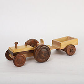 Handcrafted Wooden Tractor Toy with Wheels (Size 30.5x11x7.5 Cm)