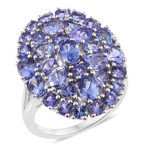 Tanzanite (Ovl) Cluster Ring in Platinum Overlay Sterling Silver 8.000 Ct.