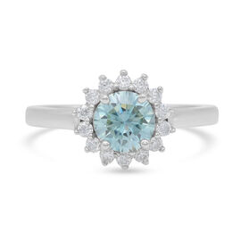 Blue and White Moissanite Ring in Platinum Overlay Sterling Silver