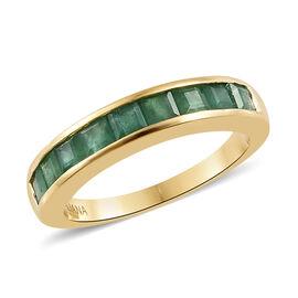 ILIANA 18K Yellow Gold AAA Kagem Zambian Emerald (Sqr) Half Eternity Band Ring 1.250  Ct.