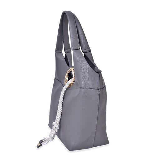 Grey Colour Tote Bag with Rope and Metallic Circle at Front (Size 42X28X28X14 Cm)