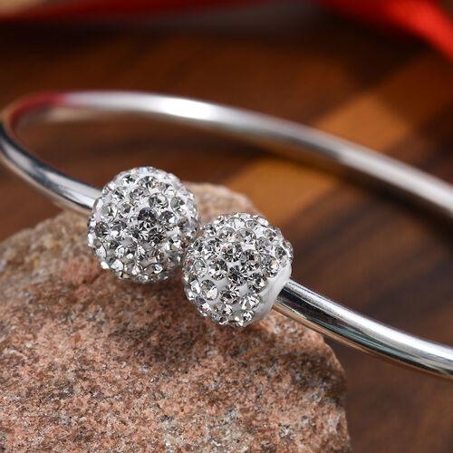 Charmes De Memoire Platinum Overlay Sterling Silver Bangle (Size 7), Silver wt 7.60 Gms