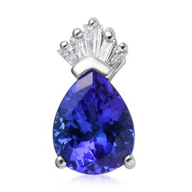 RHAPSODY 950 Platinum AAAA Tanzanite (Pear 9x7mm), Diamond (VS/E-F) Pendant 1.87 Ct.