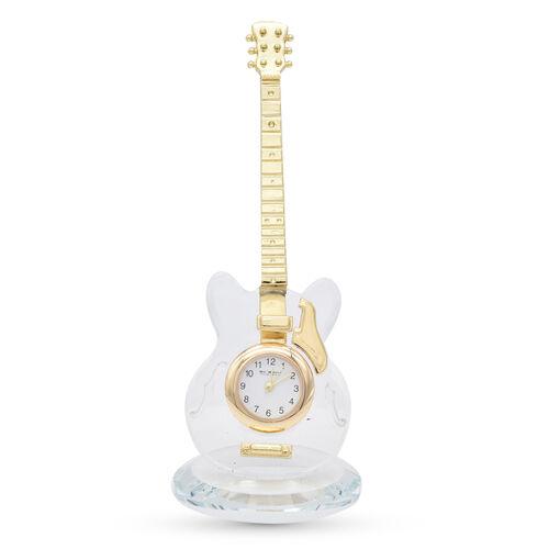 WILLIAM WIDDOP Miniature Crystal Guitar Clock in Gold Tone