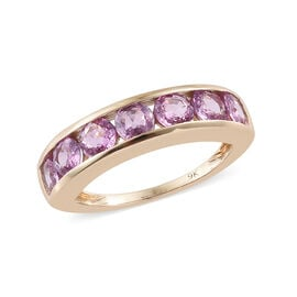DOD- Limited Edition- 9K Yellow Gold AAA Pink Sapphire (Rnd) Half Eternity Ring 2.000 Ct.