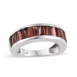 Mozambique Garnet (Bgt) Half Eternity Ring (Size M) in Platinum Overlay Sterling Silver 3.000 Ct