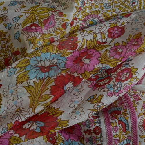 100% Mulberry Silk Pink, White and Multi Colour Handscreen Floral and Paisley Printed Scarf (Size 200X180 Cm)