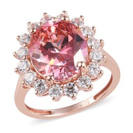 J Francis - Rose Gold Overlay Sterling Silver (Ovl and Rnd) Ring Made with Pink and White SWAROVSKI