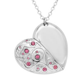 Pink Austrian Crystal Pendant with Chain (Size 24) with USB Storage Device 16GB in Silver Tone