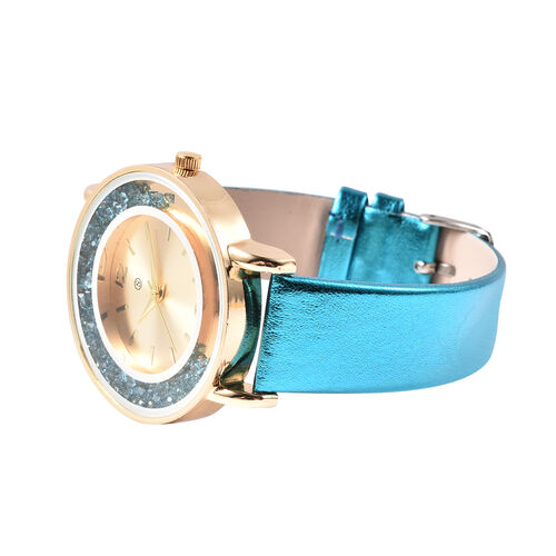 6 Piece Set - STRADA Japanese Movement Moving Turquoise Austrian Crystal Water Resistant Watch with Turquoise Strap and Set of 5 Adjustable Bracelet (Size 6.5-7.5) in Gold Tone