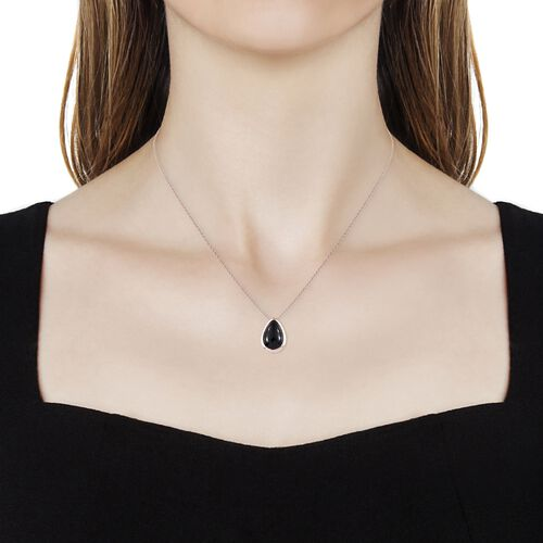 Boi Ploi Black Spinel (Pear) Solitaire Pendant With Chain (Size 20)  in Rose Gold Overlay Sterling Silver 3.000 Ct.