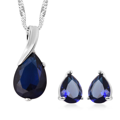 2 Piece Set - Simulated Blue Sapphire Drop Pendant with Chain (Size 20 with 2 inch Extender) and Stu