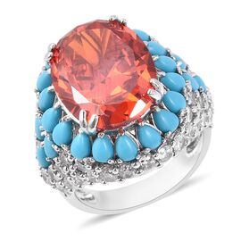 Lustro Stella Simulated Orange Sapphire and Multi Gemstone Halo Ring in Rhodium Plated Silver
