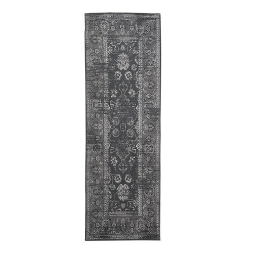 Premium Cotton Dark Grey Colour Rug (Size 240x80 Cm)