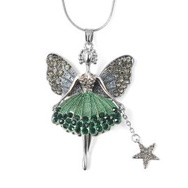 Green and Grey Austrian Crystal (Rnd) Fairy Pendant with Chain (Size 29 with 2 inch Extender)