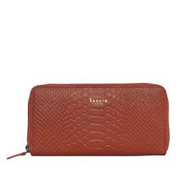 Assots London HAZEL Python Embossed Genuine Leather Zip Around Purse (Size 20x2x10 Cm) - Red