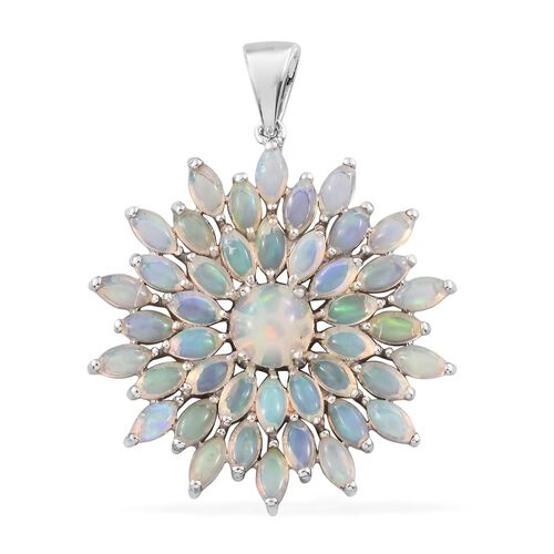 Ethiopian Welo Opal (Rnd) Floral Pendant in Platinum Overlay Sterling Silver 5.500 Ct. Silver wt. 6.