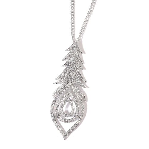 AAA White Austrian Crystal Peacock Feather Pendant with Chain (Size 20 with 3 inch Extender) and Earrings (with Push Back) Silver Plated