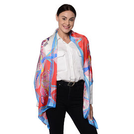 LA MAREY 100% Mulberry Silk Blue and Red Print Scarf (165x50cm)