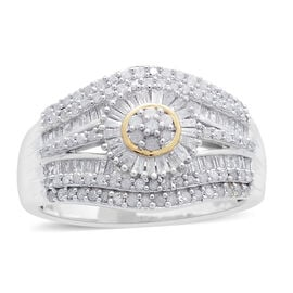 1 Carat Diamond Cluster Ring in Platinum Plated Silver