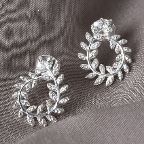 Diamond Leaf-Inspired Earrings (with Push Back) in Sterling Silver