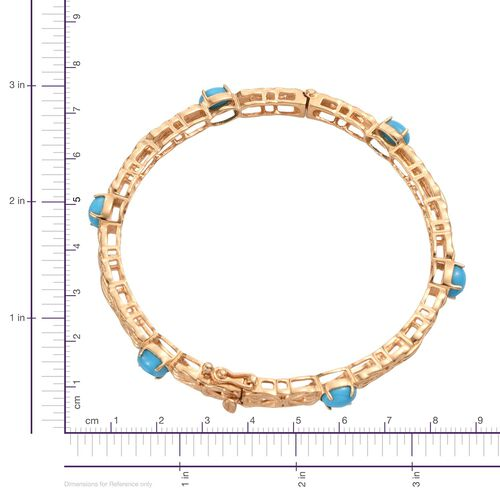 Arizona Sleeping Beauty Turquoise (Ovl) Bangle (Size 7.5) in 14K Gold Overlay Sterling Silver 5.000 Ct.