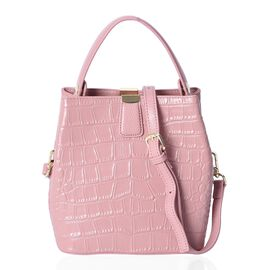 Hongkong Close Out-100% Genuine Leather Pink Colour Croc Embossed Satchel Bag with Removable Shoulde