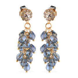 Simulated Blue Sapphire, White Austrian Crystal Dangling Earrings (with Push Back) in Gold Tone