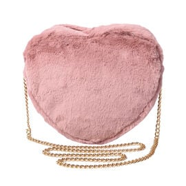Pink Faux Fur Heart-Shaped Crossbody Bag with Chain Shoulder Strap in Gold Tone
