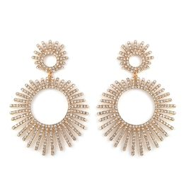 Designer Inspired White Austrian Crystal (Rnd) Earrings in Gold Plated