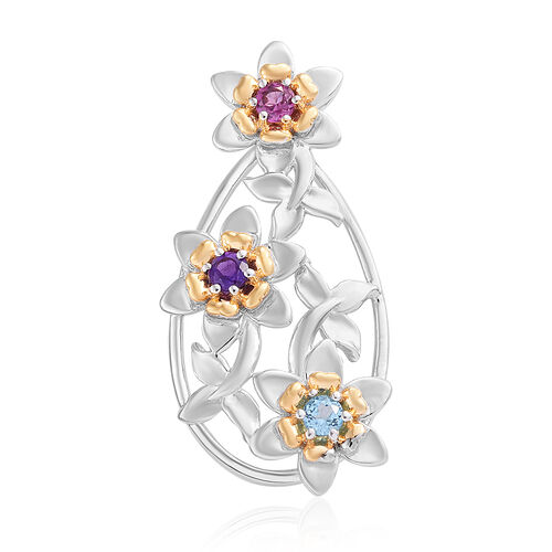 Rhodolite Garnet (Rnd), Swiss Blue Topaz and Amethyst Floral Pendant in Platinum and Yellow Gold Ste