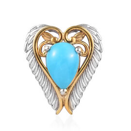 1.25 Ct Arizona Sleeping Beauty Turquoise Heart Pendant in Platinum and Gold Plated Silver