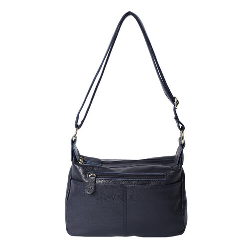 100% Genuine Leather Crossbody Bag with Multiple Pockets and Zipper Closure (Size 28x9x19 Cm) - Navy