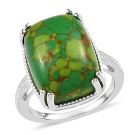 Green Mojave Turquoise (Cush 16x12 mm) Ring (Size P) in Sterling Silver 11.00 Ct.