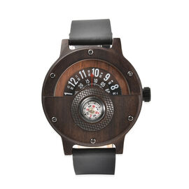 GENOA Japanese Movement Brown Sandalwood Dial Water Resistant Watch with Black Leather Strap