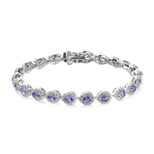 AAA Tanzanite and Natural Cambodian Zircon Bracelet (Size 7) in Platinum Overlay Sterling Silver 8.0