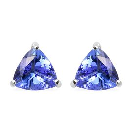 RHAPSODY 950 Platinum AAAA Tanzanite (Trl) Stud Earrings (with Screw Back) 1.15 Ct.