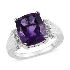 4 Carat Amethyst and Cambodian Zircon Solitaire Design Ring in Platinum Plated Sterling Silver