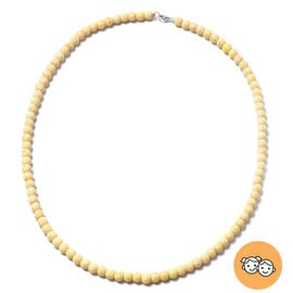 Yellow Howlite Beads Necklace (Size 20) in Rhodium Overlay Sterling Silver with Lobster Lock 116.00