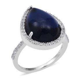 ELANZA Simulated Tanzanite and Simulated Diamond Halo Ring in Rhodium Plated Sterling Silver