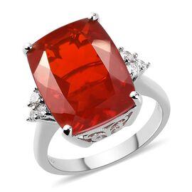 RHAPSODY 950 Platinum AAAA Jalisco Fire Opal and Diamond Ring 7.65 Ct, Platinum wt. 6.00 Gms