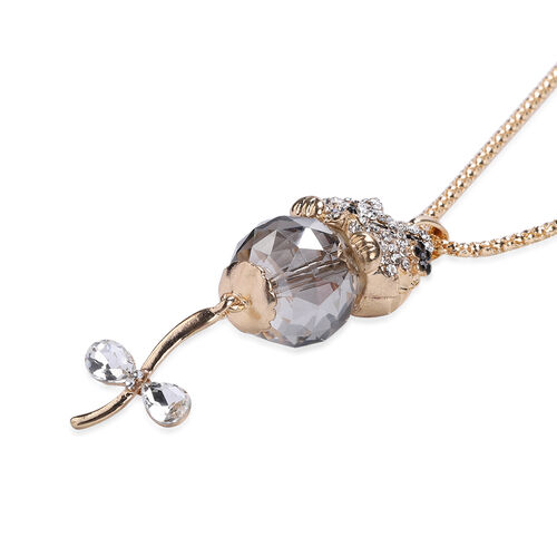 Simulated Grey Spinel, Simulated Diamond and Black and White Austrian Crystal Cat Pendnat with Chain in Gold Tone