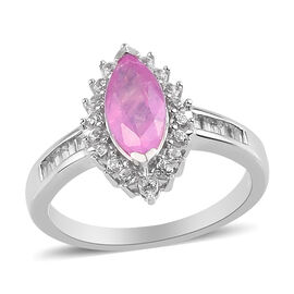 Hot Pink Sapphire and Natural Cambodian Zircon Halo Ring in Platinum Overlay Sterling Silver 2.00 Ct