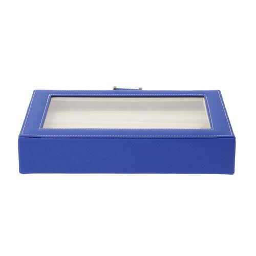 Royal Blue Ring Box with Anti-Tarnish Lining and Transparent Window (26.7x17.8x5.5cm)