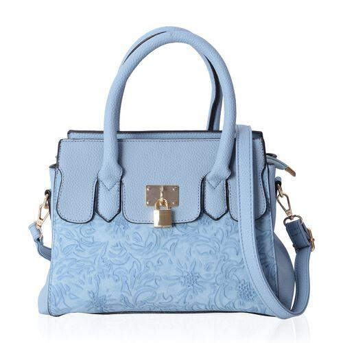 Blue Colour Tote Bag with External Zipper Pocket and Removable Shoulder Strap (Size 30x22x11 Cm)
